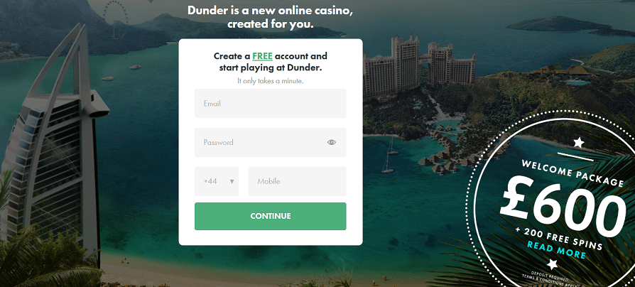 dunder casino offer graphic