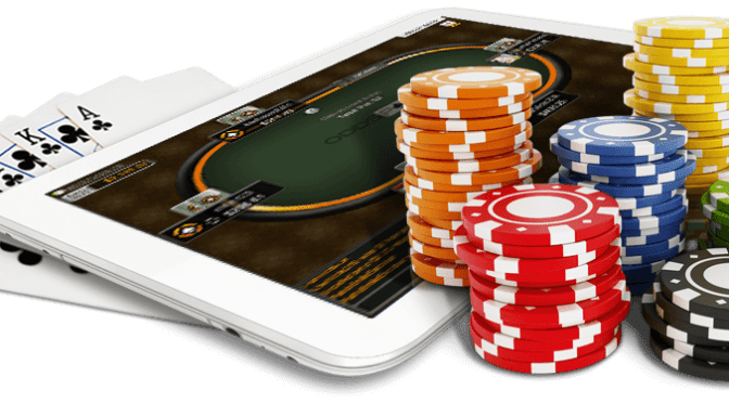 poker chips playing cards mobile phone