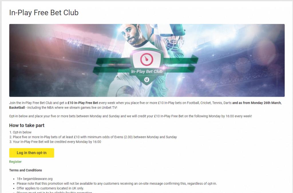 Unibet Free Bet Club